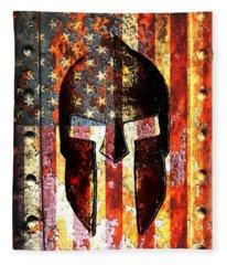 American Flag And Spartan Helmet On Rusted Metal Door - Molon Labe Fleece Blanket