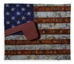 American Flag Mail Box Fleece Blanket