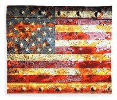American Flag On Rusted Riveted Metal Door Fleece Blanket