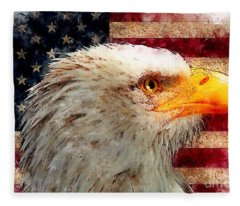 American Flag With Bald Eagle Fleece Blanket