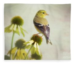 American Goldfinch On Coneflower Fleece Blanket