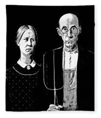 American Gothic Graphic Grant Wood Black White Tee Fleece Blanket