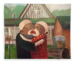 American Gothic The Monkey Lisa And The Holler Fleece Blanket