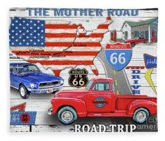 American Highways-route 66 Fleece Blanket