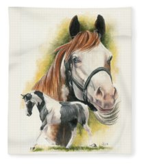 Fleece Blanket featuring the mixed media American Paint by Barbara Keith