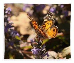 American Painted Lady Butterfly On Ajuga Fleece Blanket