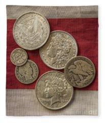 American Silver Coins Fleece Blanket