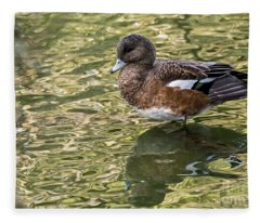 American Wigeon In Autumn Fleece Blanket
