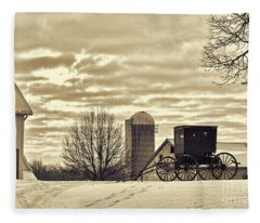 Amish Buggy At Morning Sepia Fleece Blanket