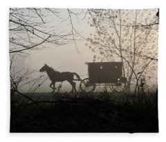 Amish Buggy Foggy Sunday Fleece Blanket