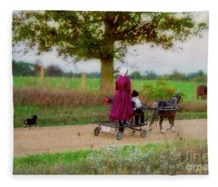 Amish Kids On Pony Cart Fleece Blanket