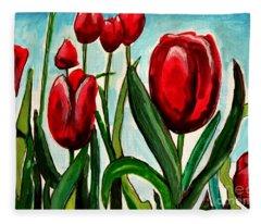 Among The Tulips Fleece Blanket