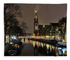 Amsterdam By Night - Prinsengracht Fleece Blanket