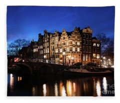 Amsterdam Canal Houses Illuminated At Dusk Fleece Blanket