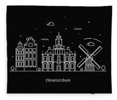 Amsterdam Skyline Travel Poster Fleece Blanket