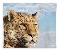 Amur Leopard Against Blue Sky Fleece Blanket
