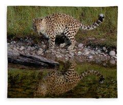 Amur Leopard Reflection Fleece Blanket