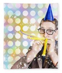 Amusement Man In Party Hat Celebrating A Birthday Bash Fleece Blanket
