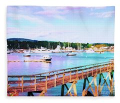 An Abstract View Of Southwest Harbor, Maine  Fleece Blanket