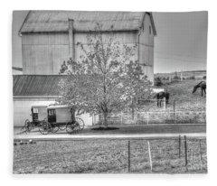 An Amish Farm In B/w Fleece Blanket