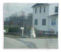 An Amish Snowman Fleece Blanket