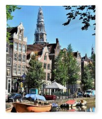 An Amsterdam Canal Fleece Blanket