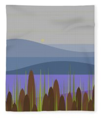 An Early Morning Rain And Cattails Fleece Blanket