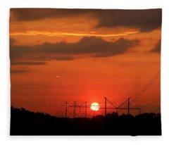 An Electric Sunrise Fleece Blanket