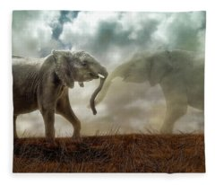 Fleece Blanket featuring the digital art An Elephant Never Forgets by Nicole Wilde