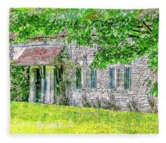 An English Cottage Fleece Blanket