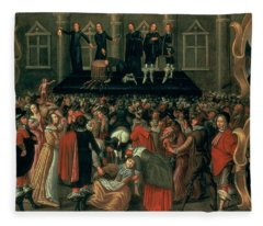 An Eyewitness Representation Of The Execution Of King Charles I Fleece Blanket