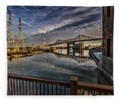 an Industrial river scene Fleece Blanket