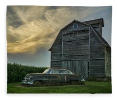 An Old Cadillac By A Barn And Cornfield Fleece Blanket
