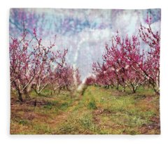 An Orchard In Blossom In The Golan Heights Fleece Blanket