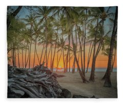 Anaehoomalu Beach Sunset Fleece Blanket