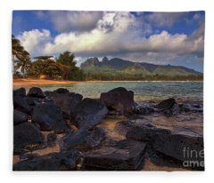 Anahola Beach Park On The Island Of Kauai, Hawaii Fleece Blanket