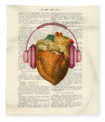 Anatomical Heart And Headphonesin Color  Fleece Blanket