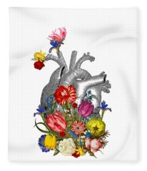 Anatomical Heart With Colorful Flowers Fleece Blanket