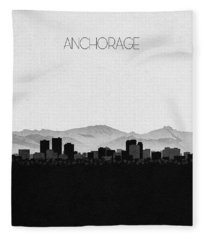 Anchorage Cityscape Art Fleece Blanket