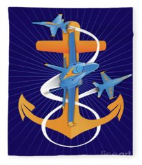 Anchors Aweigh Blue Angels Fouled Anchor By Joe Barsin Fleece Blanket
