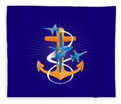 Anchors Aweigh Blue Angels Fouled Anchor Fleece Blanket