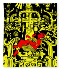 Ancient Astronaut Yellow And Red Version Fleece Blanket