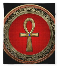 Ancient Egyptian Ankh - Sacred Golden Cross Over Black Leather Fleece Blanket