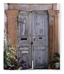 Ancient Garden Doors In Greece Fleece Blanket