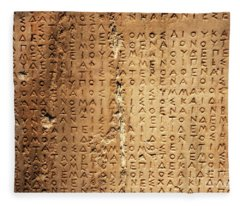 Ancient Greek Carved Into Stone Fleece Blanket