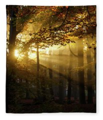 And Then There Was Light - Autumn Forest Fleece Blanket