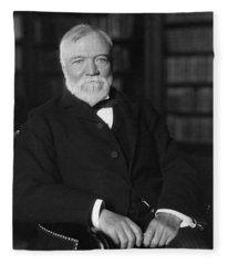 Andrew Carnegie Seated In A Library Fleece Blanket