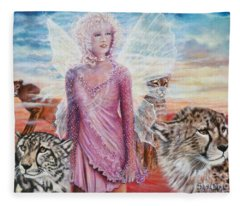 Angel And Her Pride Of Cheetas  Fleece Blanket