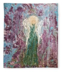 Angel Draped In Hydrangeas Fleece Blanket