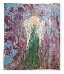 Angel Draped In Hydrangeas Fleece Blanket
